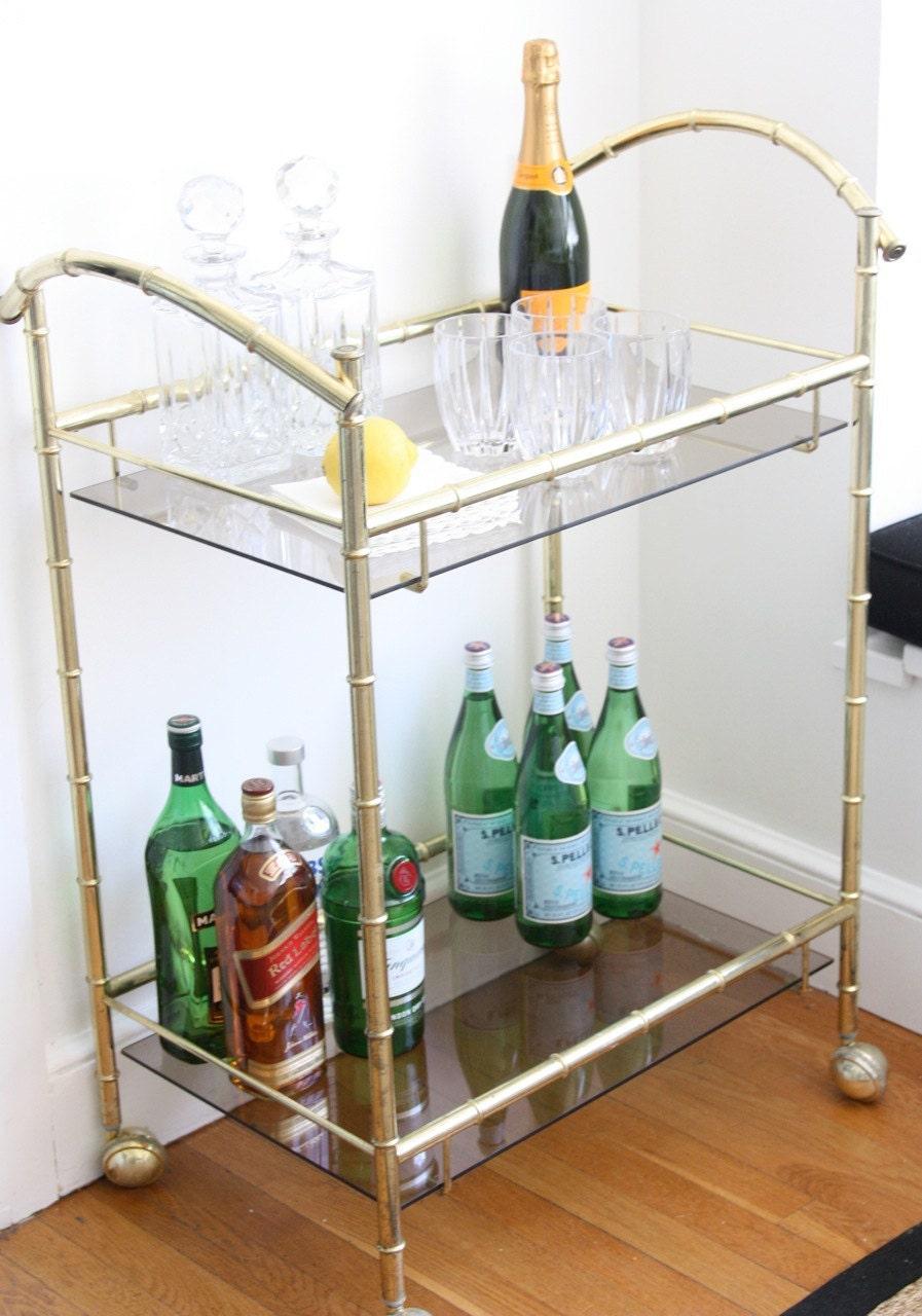 Vintage Brass Faux Bamboo Bar Cart