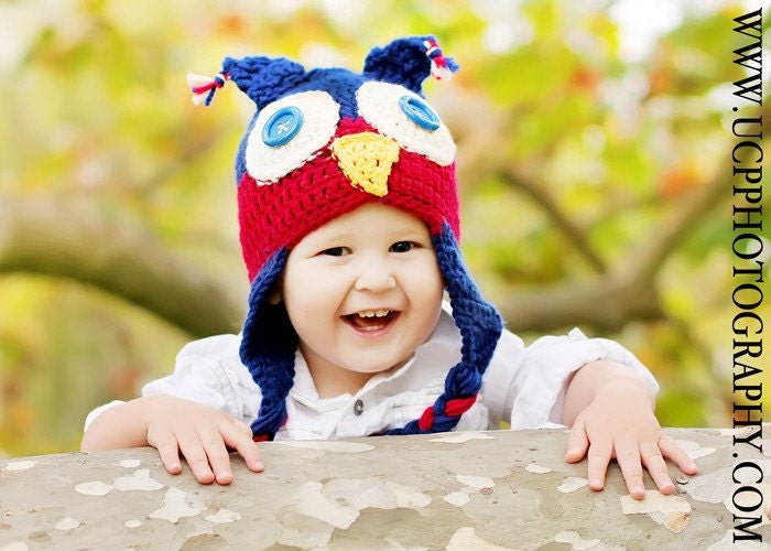 Newborn to 3mo Adorable Button Eyed Navy and Maroon Owl Earflap Hat With Braids