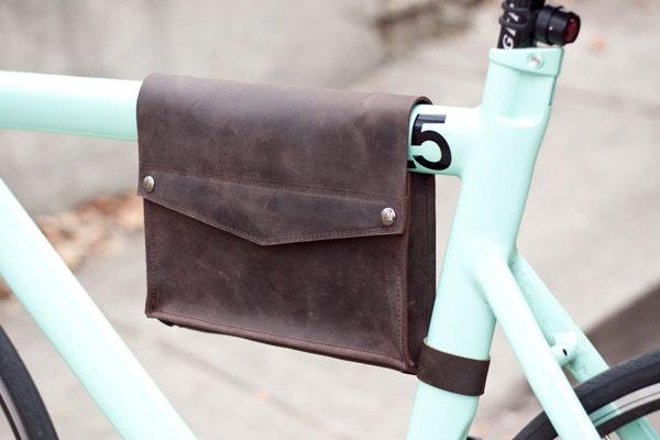 Leather Bicycle Frame Bag - Dark Chocolate Brown - jrawldesign