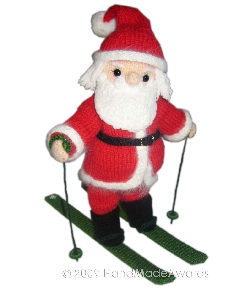 SANTA CLAUS with SKIS PDF Email KNIT PATTERN