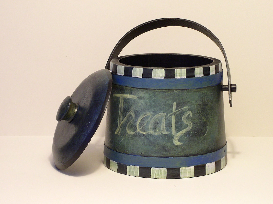 Painted Wood Vintage Treats Canister with Lid Farmhouse Chic