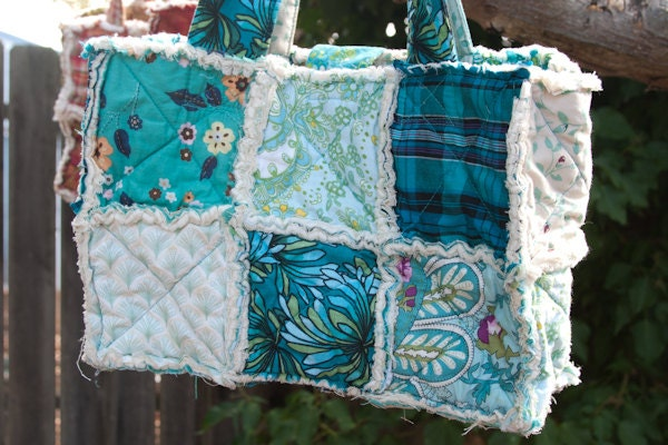 Quilted Rag Bag RB612-004 Teal and White Fabric