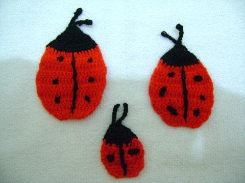 Crochet ladybird appliques...