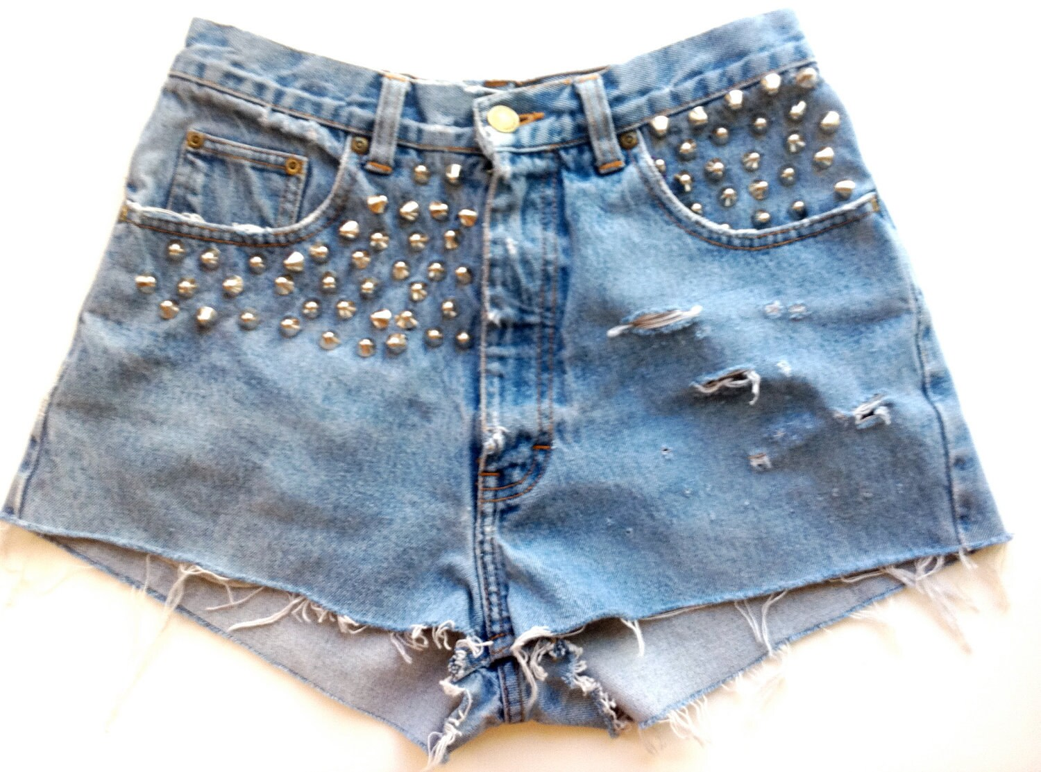 Vintage High Waist Studded and Distressed Denim Shorts