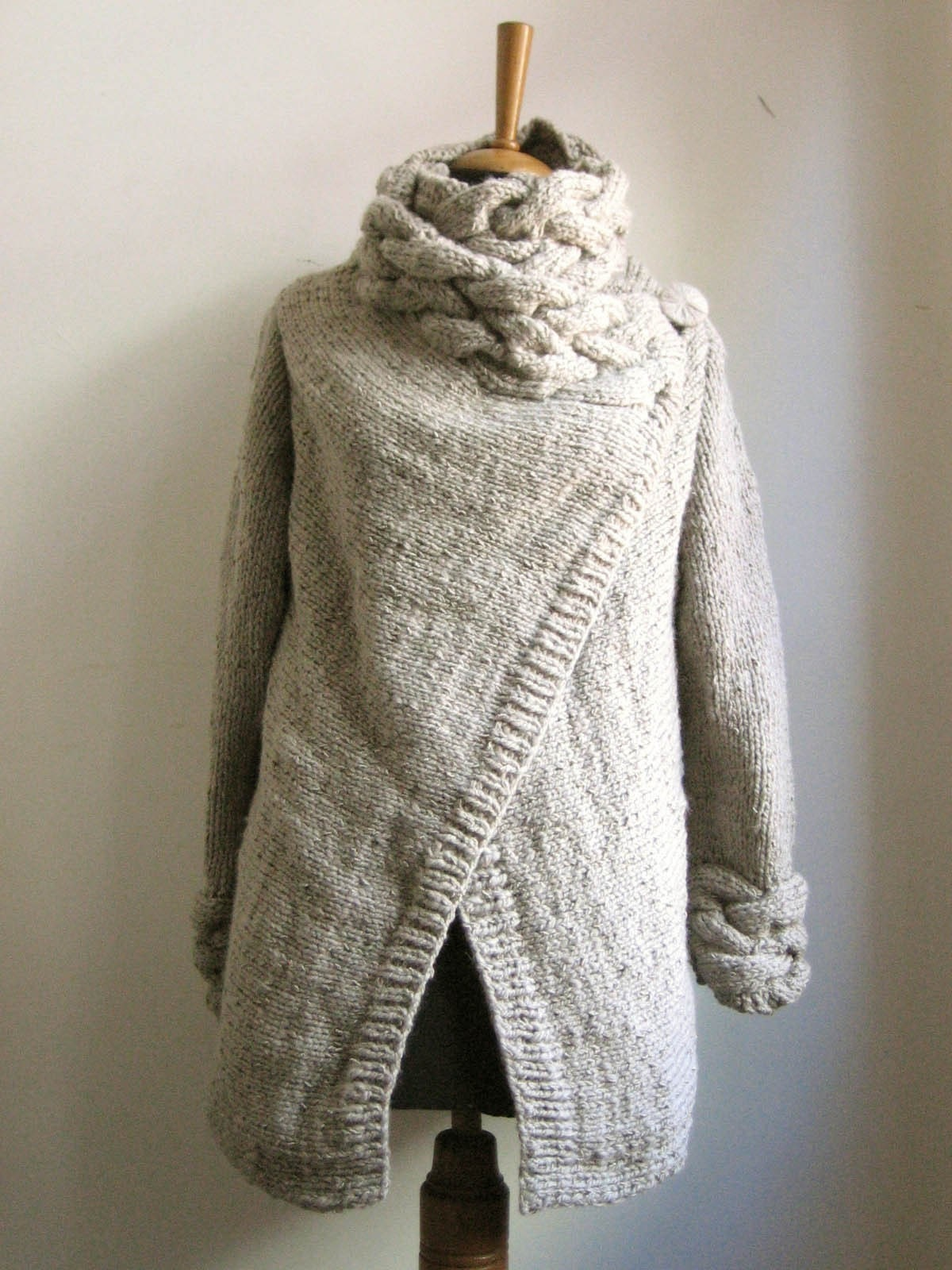 RIONA hand knitted cardigan coat warm grey