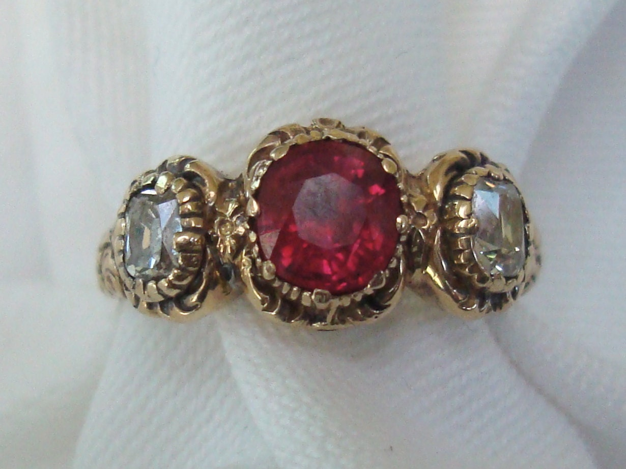 reserved antique georgian ring gold diamonds by rainonthewind