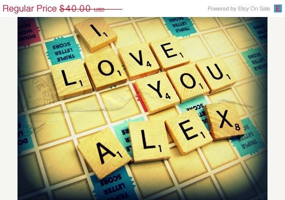 Back to School Choose Your Message and Style Custom Scrabble Personalized Photography 8x10 Print