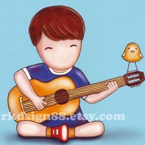 rkdsign88.blogspot.com etsy valentine cute children painting fun illustration nursery drawing art print cute whimsical reproduction music bird