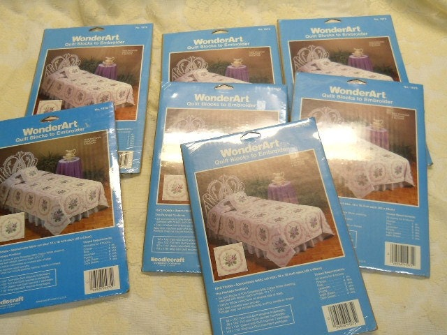 7 packages of WonderArt stamped violet quilt blocks by ...