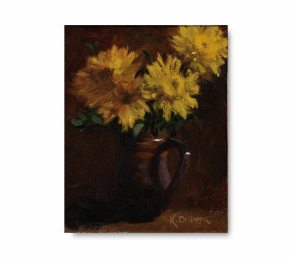 Yellow Flower Oil Painting, original art, bright color, brown, chocolate, still life, rustic pottery, lemon yellow - WhiteBarnStudios