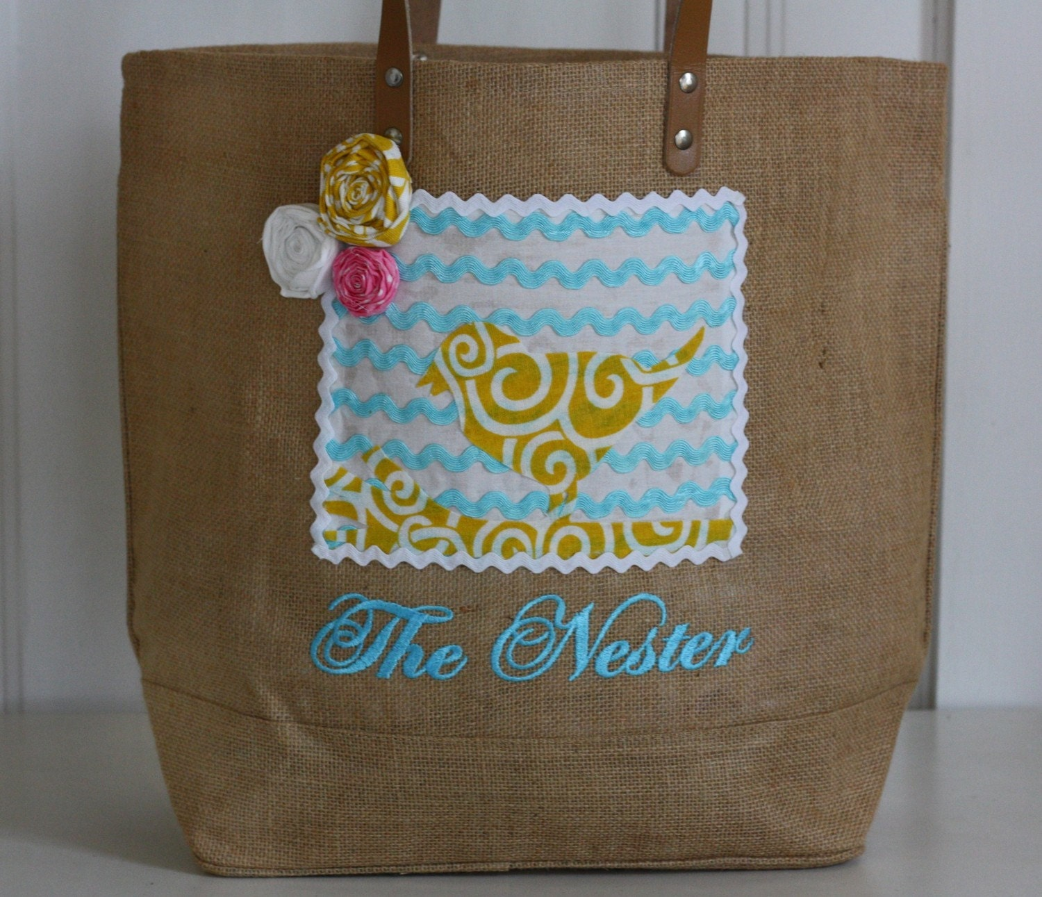 made to order Nesting Bag with bird & homemade chevron fabric