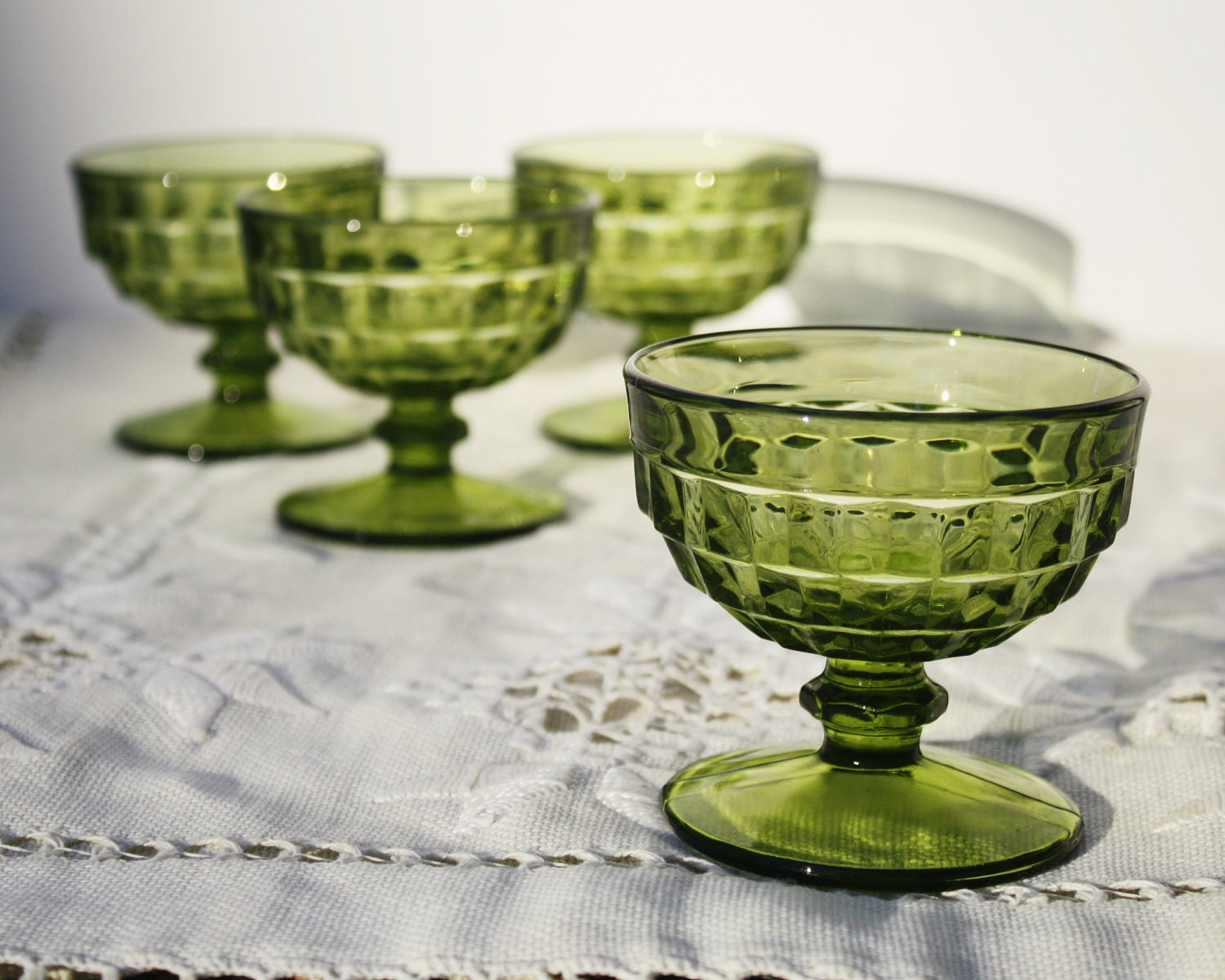 vintage green glass ice cream sundae dishes by countrychicantiques. Black Bedroom Furniture Sets. Home Design Ideas