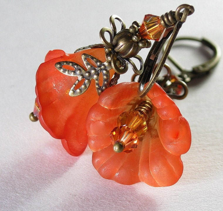 Orange Tequila Sunrise Antiqued Brass Flower Earrings