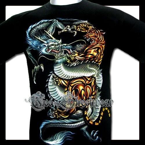 Black Dragon Tiger Tattoo T Shirts Rock Hardy L 1191. From TeeStreetwear