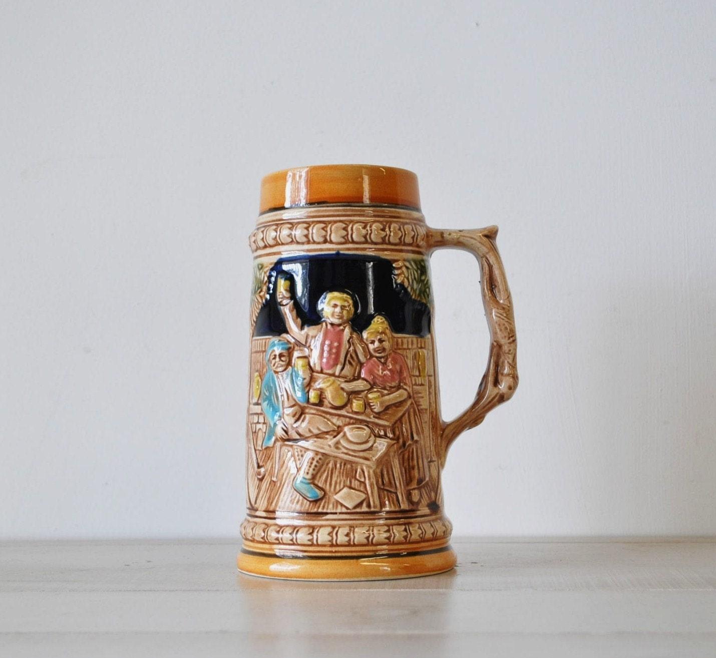 vintage antique german beer stein mug by myramelinda on etsy. Black Bedroom Furniture Sets. Home Design Ideas
