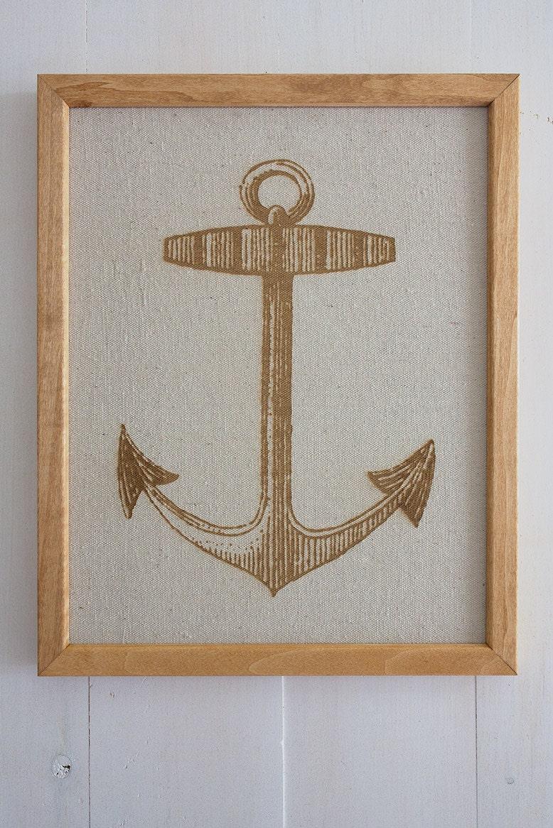 Large Nautical Wall Decor : Items similar to anchor large nautical engraved canvas