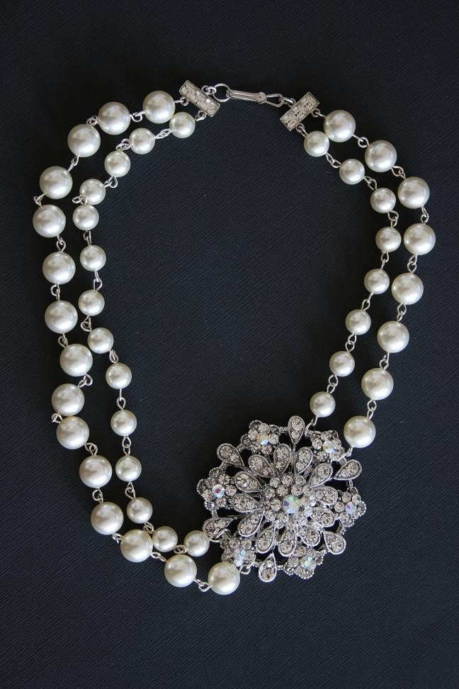 Handmade Jewelry on Etsy - JULIETTE rhinestone and multi row pearl necklace by portobello