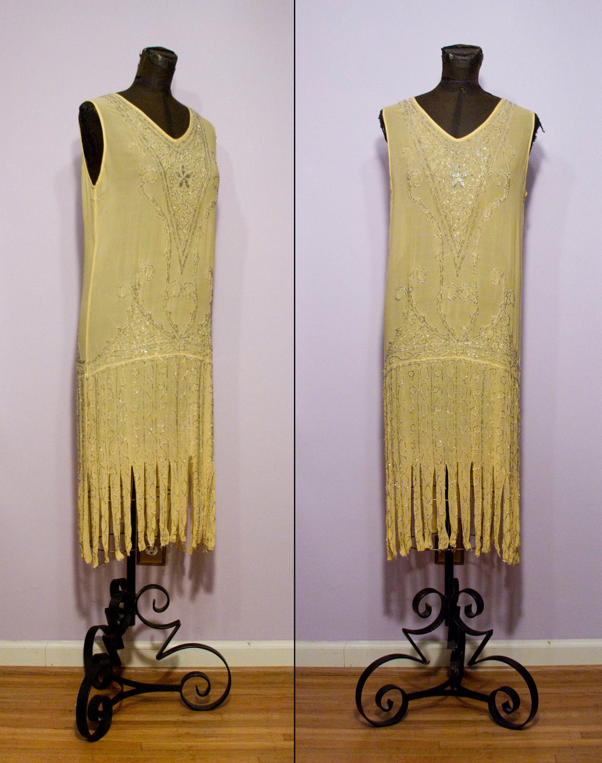 1920's Yellow Silk Beaded Flapper Dress by GarbOhVintage ...