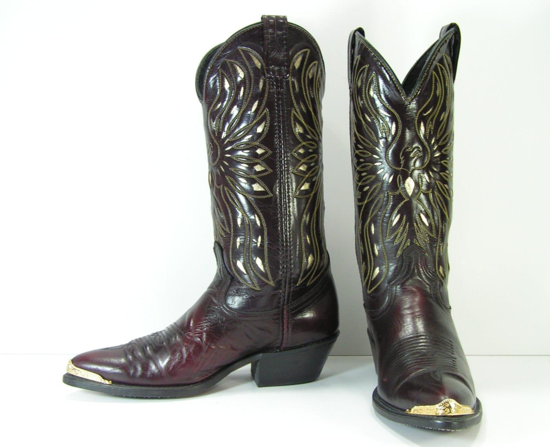 acme cowboy boots womens 9 m b burgundy gold by