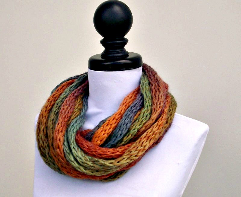 Knit Cowl - ICord Rope Cowl in Starling - READY TO SHIP - Autumn Fashion Chunky Scarf Autumn Accessories Fall Cowl