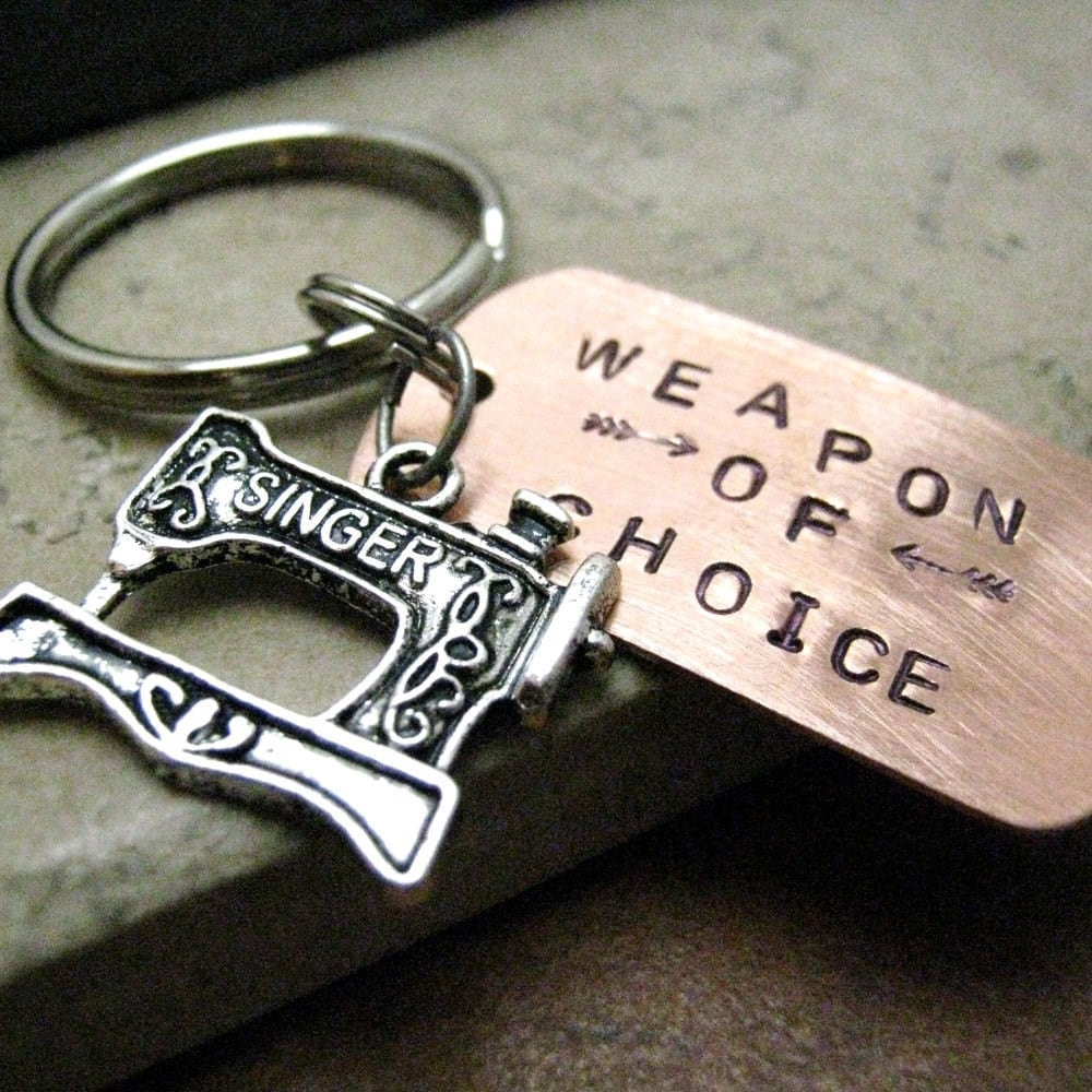 SEWING MACHINE Weapon of Choice Keychain alt charms needle, pliers, guitar, typewriter, pen, yarn, ruler, beads, camera, spoon, remote control, scissors, roller skate, martini, beer, typewriter, microscope, hammer, sneaker, rolling pin