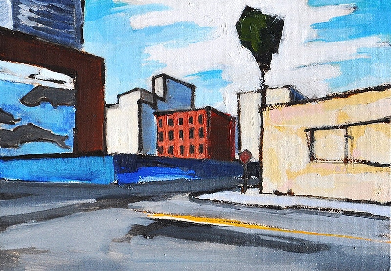 San Diego California Landscape Little Italy Downtown Urban Painting