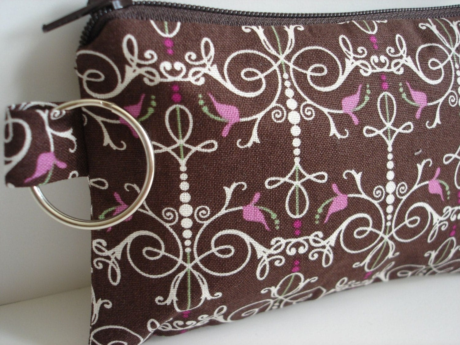 Small Zippered Pouch in Brown and Pink Print