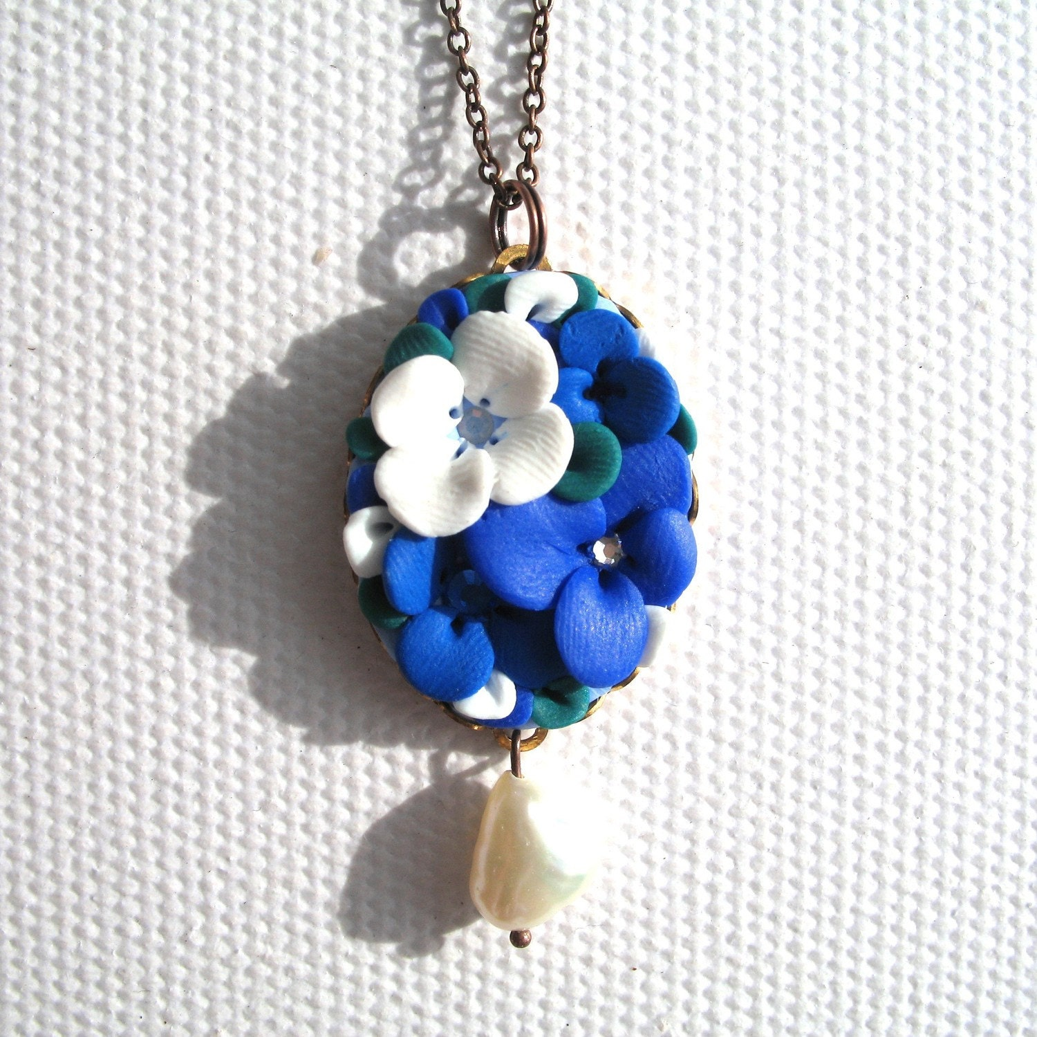 Inga - Clay flower necklace, pendant setting 30mm by 22mm