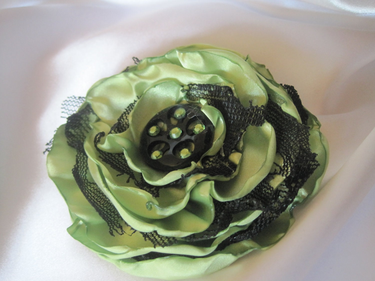 Sale.......Flower Pin Hair Clip in LIght Green Satin with Black Lace Accented with a Black Button and Swarovski Crystals - theraggedyrose