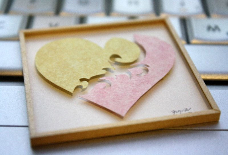 "Miniature Shadowbox Paper Wall Art, ""Heart"" Yellow & Pink made for 1:12 Scale Dollhouses"