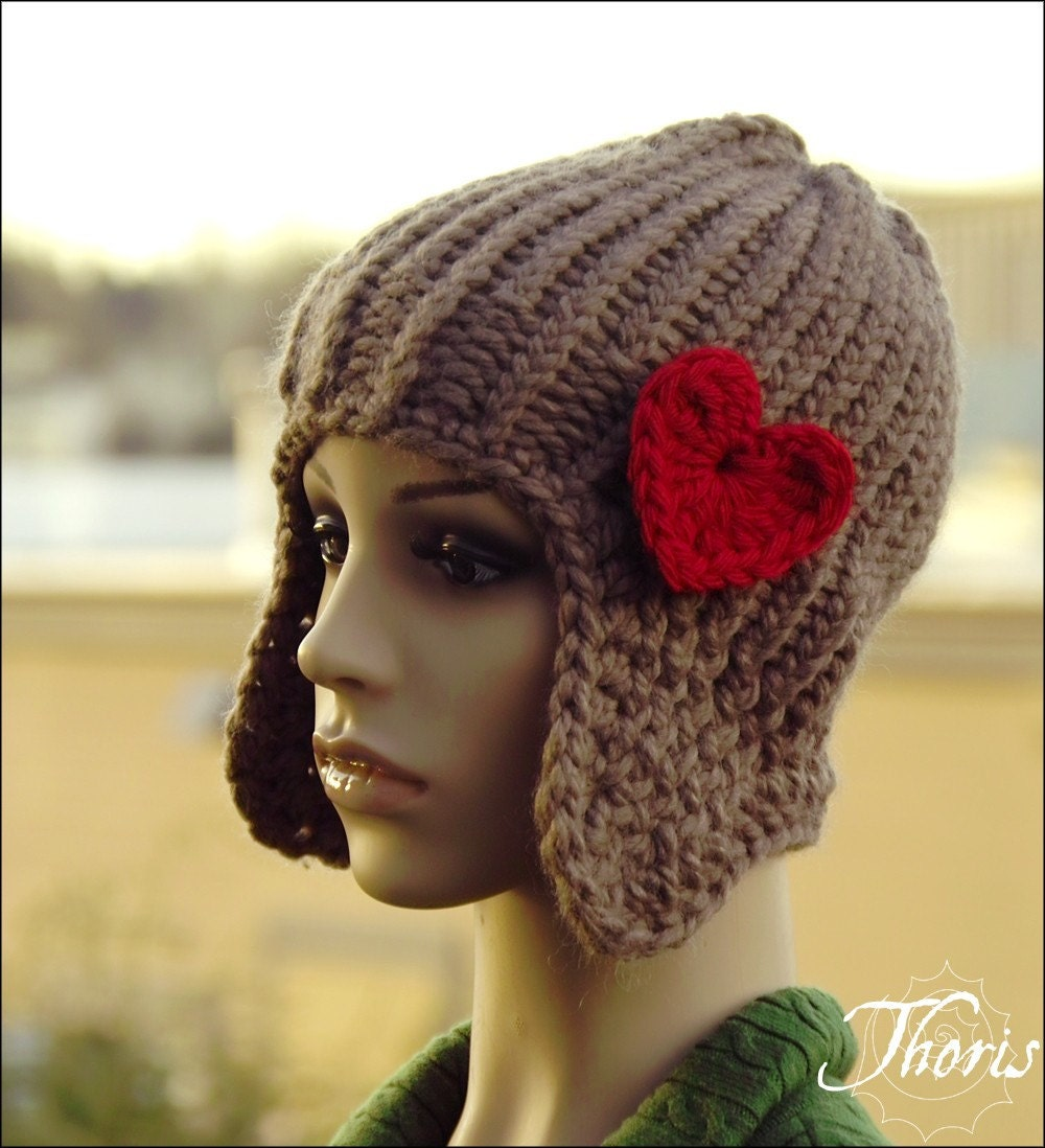 Napal - Knit Ear Flap Beanie in Taupe with Red Heart Brooch by Thoris Designs on Etsy