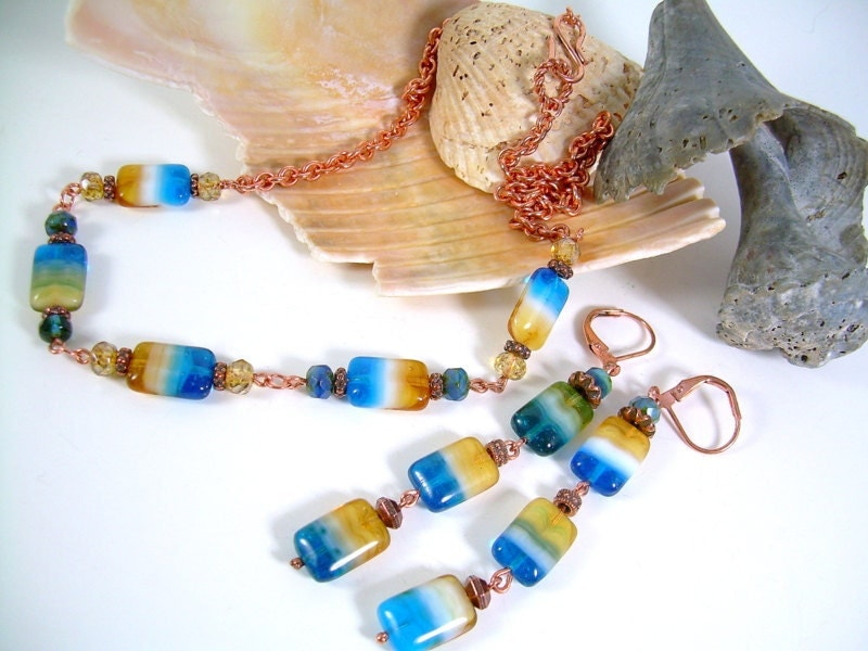 Isle Of Capri - Copper and Czech Glass Necklace Set