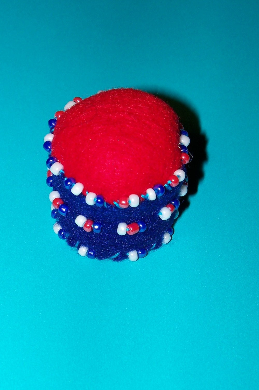 Red White Blue Patriotic Pin Cushion Beaded