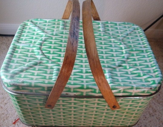 Vintage Green Tin Bread Box
