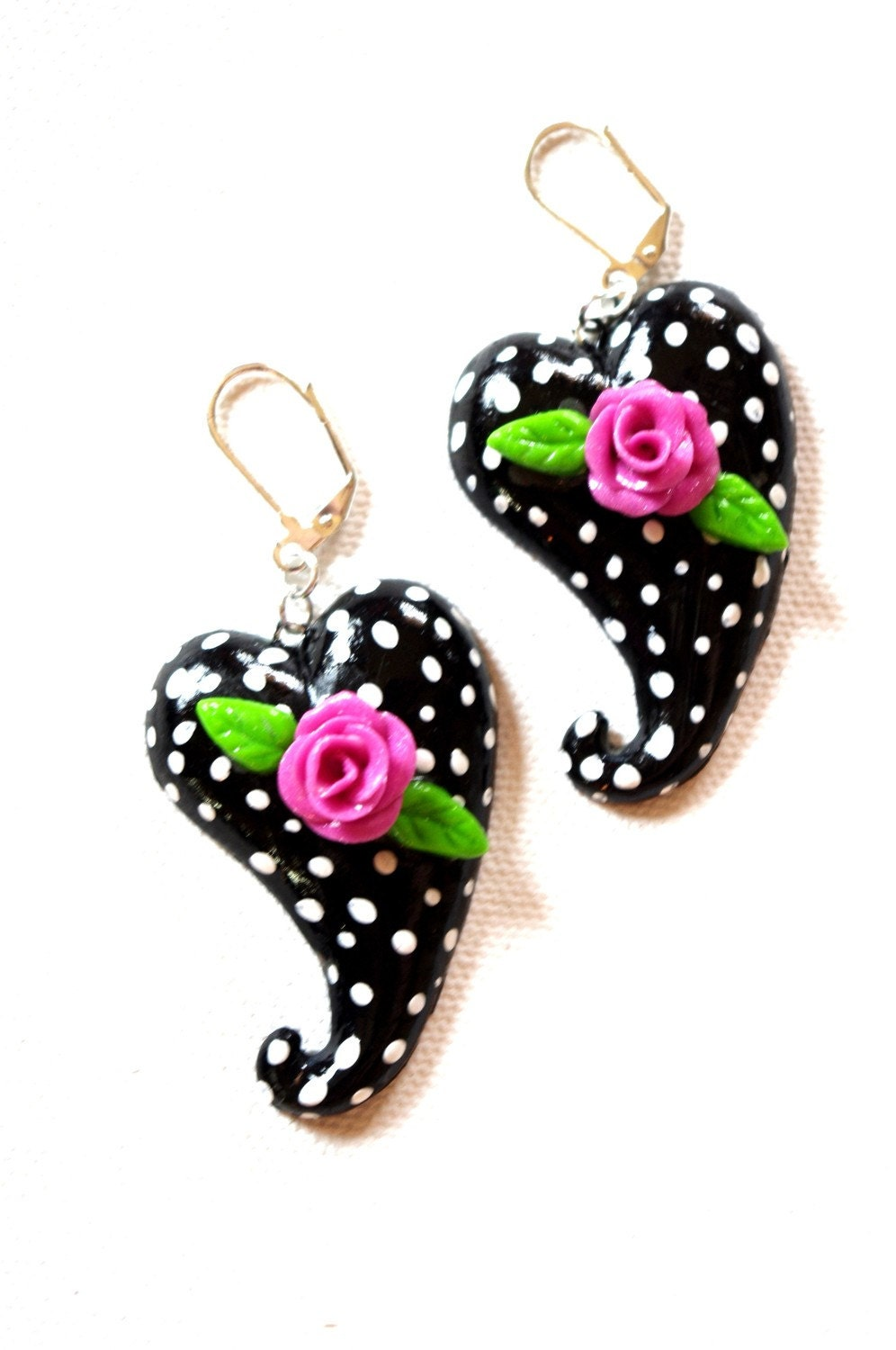 Polka Dot Hearts and Roses