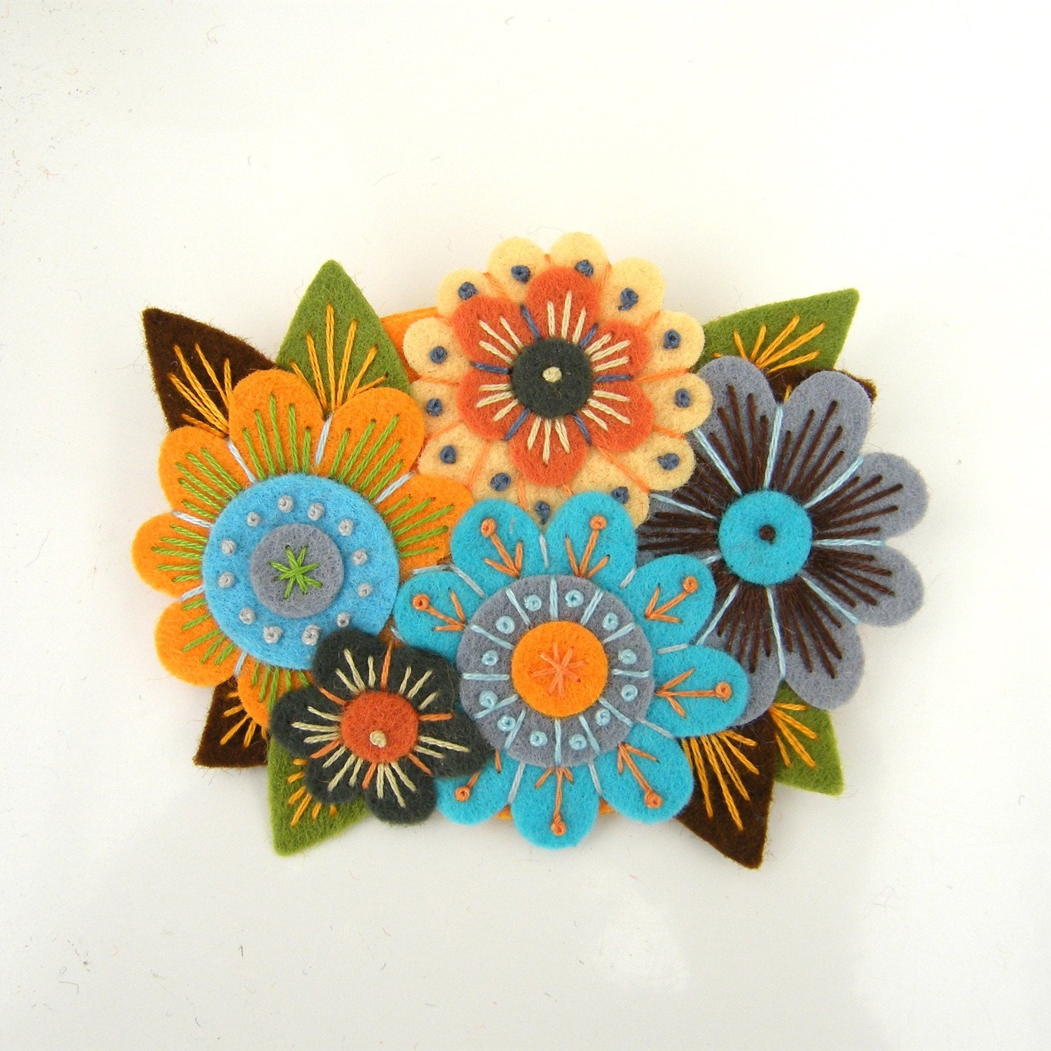 VINTAGE BOUQUET, FELT FLOWER BROOCH WITH FREEFORM EMBROIDERY