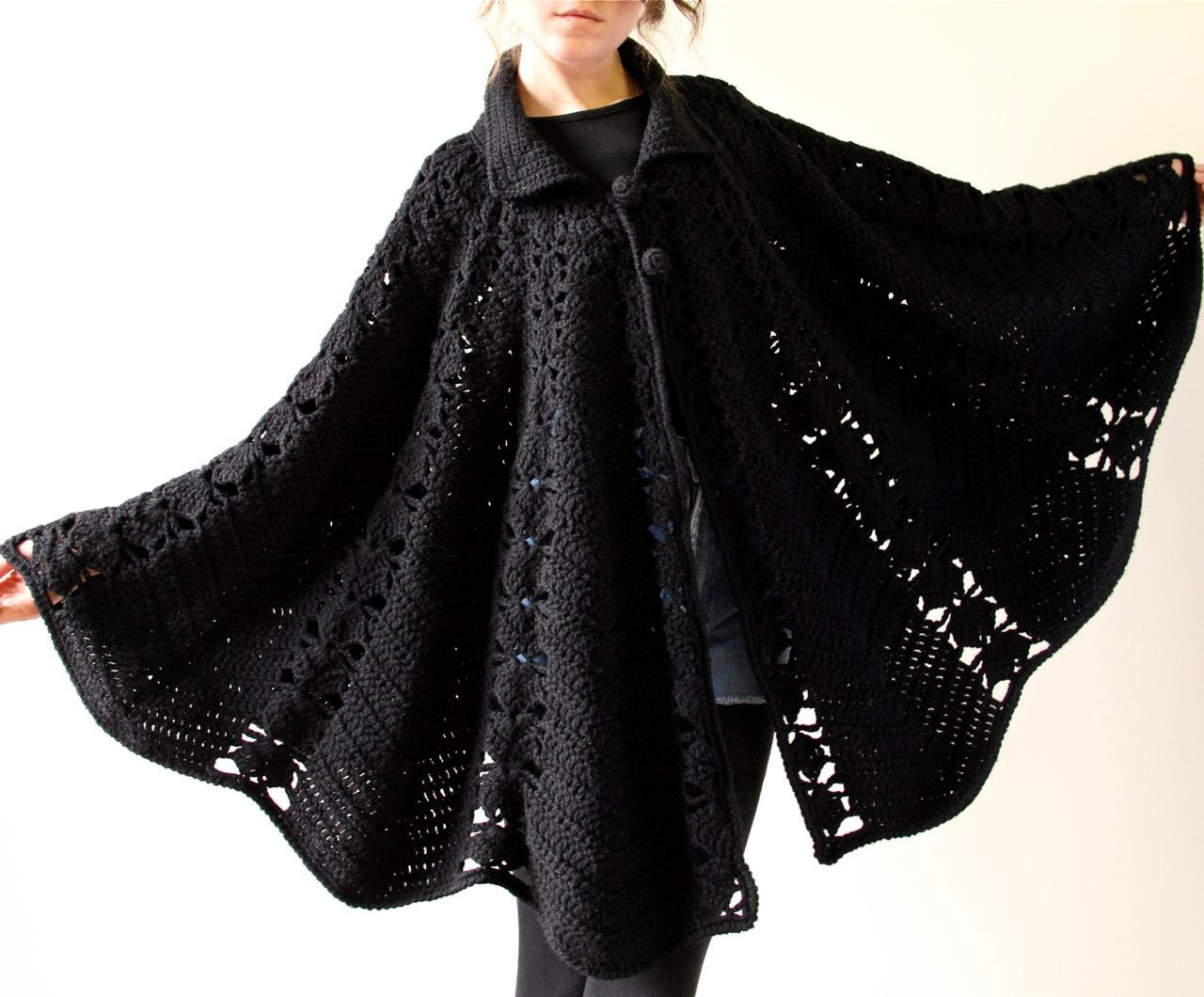 60s Mod Crochet Cape Black Minimalist Boho By Factoryhandbook