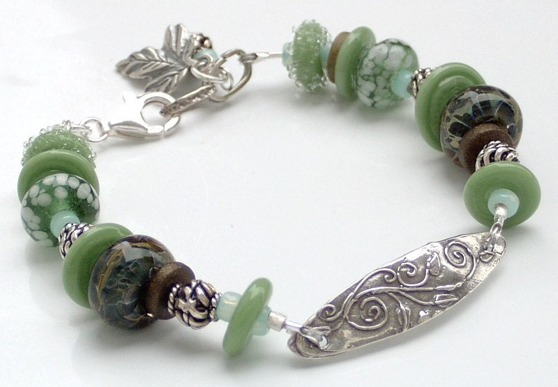 Lampwork and Sterling Silver Bracelet  Into the Forest by stoutdg2 from etsy.com