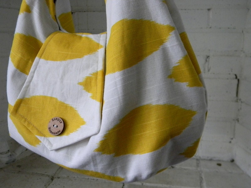 Large slouchy yellow and white purse