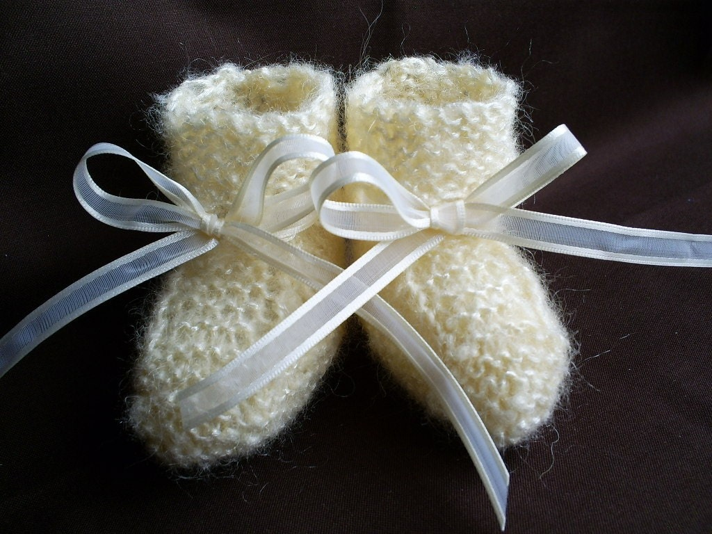 Cream Mohair Hand Knit Baby Booties Newborn to 3 Months