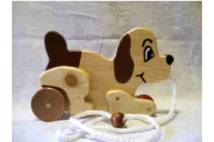 Pull toy puppy dog animated wood