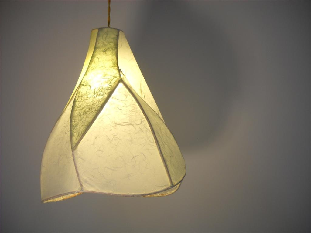 Pendant Light - Large Camellia - Copper Sculpture and Handmade Paper Lantern - Custom Made to Order - Khalima