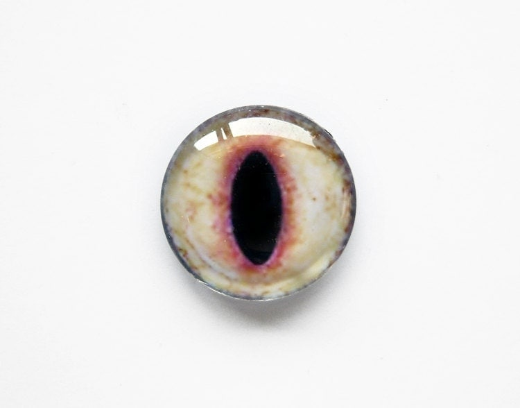 20mm handmade glass eye cabochon - light beige cat or dragon eye - VaeNoxFactory