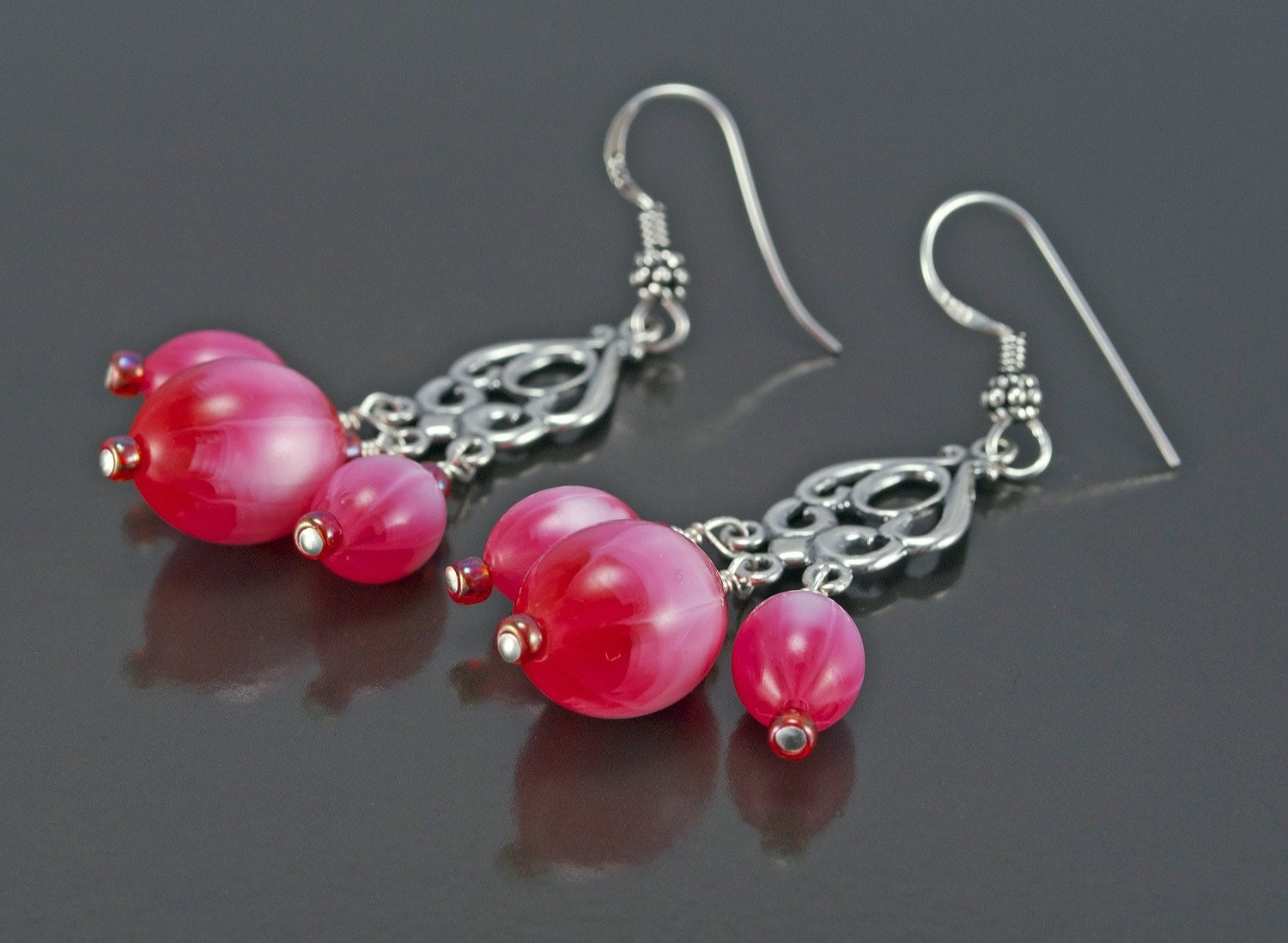 Pink Candy Floss Lucite Earrings