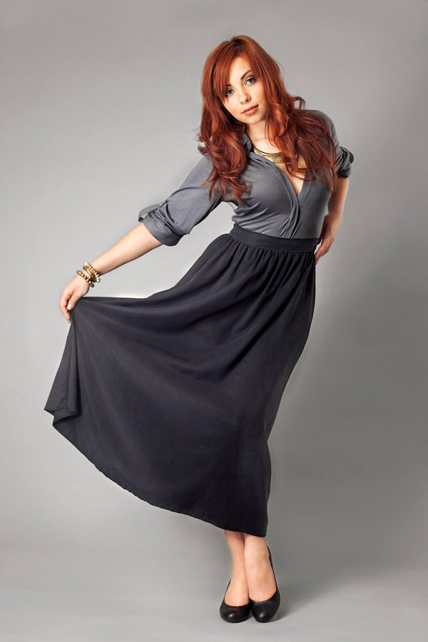 Tencel Twill Black or Grey Maxi Skirt from Kali