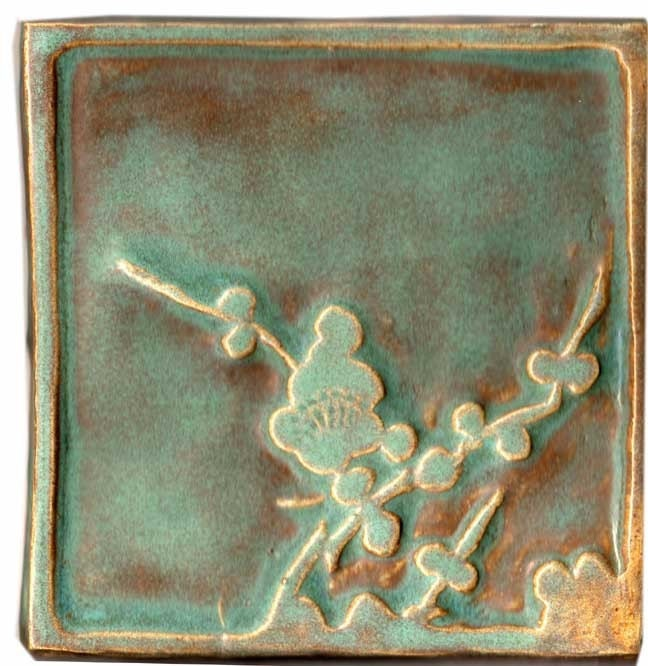 handmade accent tile with japanese plum blossom, or ume, motif