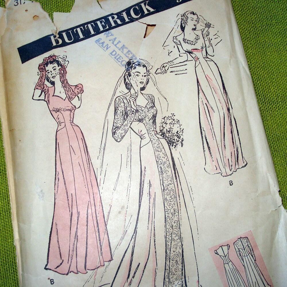 1940s vintage wedding dress pattern sweetheart by selvedgeshop for Vintage wedding dress patterns free