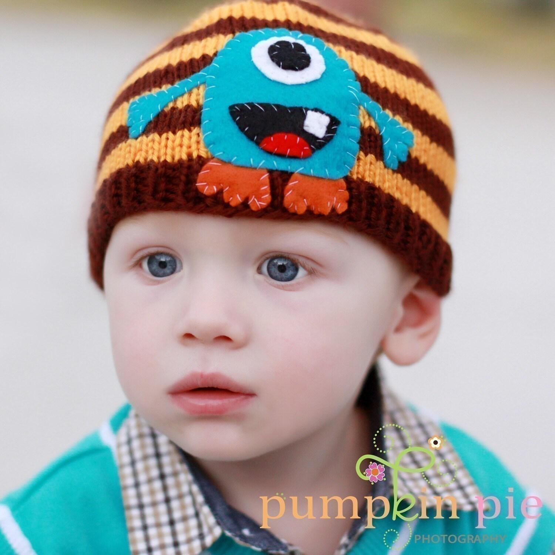 ALIEN MONSTER BEANIE (Brown/Orange Striped) Newborn Size-Made to order only