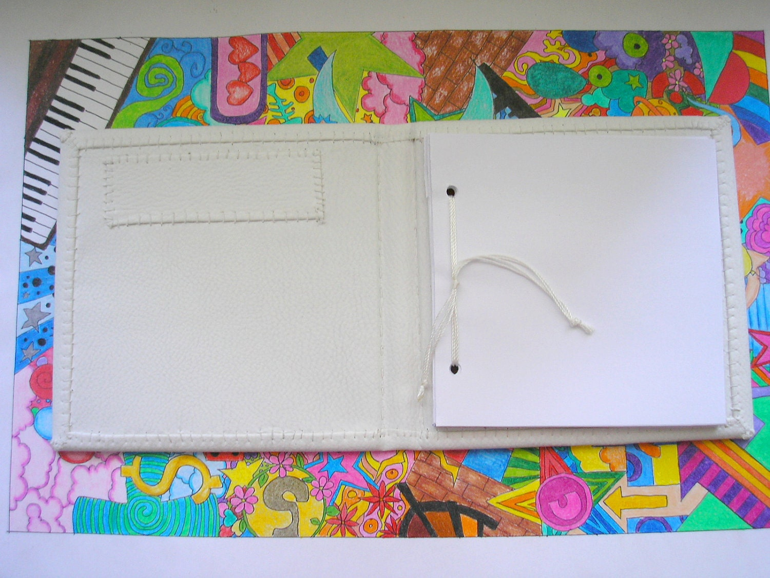 Handmade hardcover white leather medium sketchbook and folder Snow and ocean