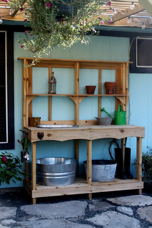 Custom Cedar Potting Station Outdoor Wet Bar Wet Bars